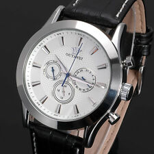 OUYAWEI White Dial Mens Analog Mechanical Automatic Day Date Leather Wrist Watch