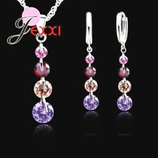 925 Sterling Silver Cubic Zirconica Crystal Pendant Necklace & Earring Set  *UK*
