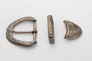 Gürtelschnalle mit Schlaufe + Spitze, ca. 40 mm, nickel-schwarz, Mittelalter