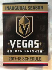 LAS VEGAS GOLDEN KNIGHTS INAUGURAL SEASON POCKET SCHEDULE 1st YEAR NHL 2017-18