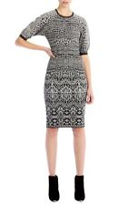 KAREN MILLEN GREY & BLACK ANIMAL PRINT BANDAGE KNIT DRESS SIZE 1 UK (8) NEW