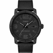 Timex TW2R64300, Men's Black Leather Watch, Day/Date, MOD44