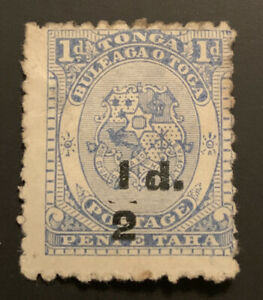 1893 Tonga Coat Of Arms 1/2d On 1d Blue Surcharge MLH SG19 CAT$80 Defective Bar