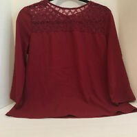 Burgundy Lacey Design Womens Blouse