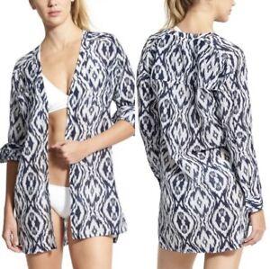 Athleta Women's Ikat Printed Kaftan Shirt Prussian Blue Swim Cover Up Silk S $98