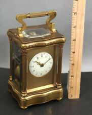 Large Rare Antique 19thC French Bronze Repeater Carriage Clock, 2 Gongs w/ Key
