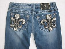 Miss Me Fleur De Lis Bootcut Jeans MK 131 Wash Thick Stitch Snake Pocket Size 27