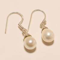 PRETTY 925 STERLING SILVER WHITE FRESHWATER PEARL HANDMADE JEWELRY EARRING GIFT