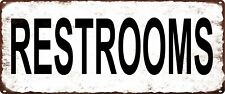 RESTROOMS Rustic Metal Sign Retro Mancave Chic Deco Art 5x12 SS217