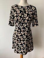 Topshop Black Floral A-Line Dress Size 10 Front Zip