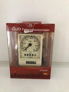 "VDO Duo Tachometer Fahrrad 26"" NOS Vintage Tacho VDO Weiß"