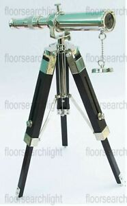 Nautical Brass Telescope With Wooden Tripod Stand Chrome Collectible Desk Decor