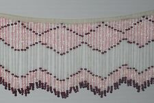 Vintage Glass Beaded Fringe Pink Clear Purple New Old Stock Craft Trim Lamp 3ft