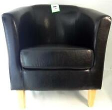 TUB CHAIR BLACK BONDED LEATHER ARMCHAIR LIVING DINING ROOM RECEPTION OFFICE SOFA