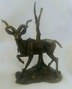 Official Franklin Mint African Wildlife Bronze  Greater Kudu by Don Polland