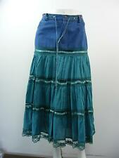 "NY GIRLS Blue Denim Waist w Teal LINED Tiered Long Skirt, NWT,  XL - W32"" X L33"""