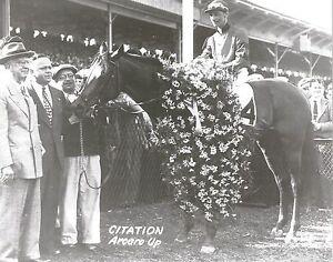 CITATION 8X10 PHOTO HORSE RACING PICTURE JOCKEY EDDIE ARCARO