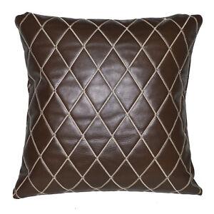 pj06a Brown Diamond Soft Faux Leather Skin Emborider Foam Backing Cushion Cover