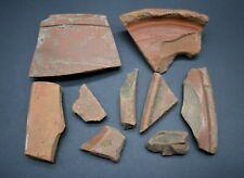 Grupo de 10 antiguas romana Samian Ware fragmentos C. 1st Century AD-británica encontrar