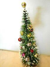 Green Bottle Brush Tree Christmas Balls Snow Tipped
