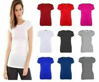 New Ladies Girls Plain Black Short Sleeve Crew Neck T-Shirt Tops Plus Size 8-26