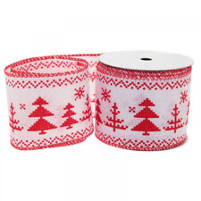 Luxury Red and White Christmas Tree Wired Ribbon - 1m length