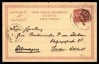 Egypt Cairo to Germany Dresden 1889 Postal Stationery Card