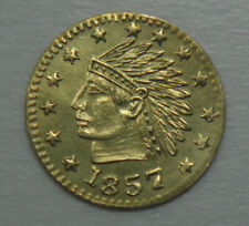 1857 Dated California Gold Token Indian Wreath #4b Round 12mm