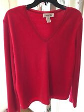 Judith Hart Velour Ribbed Sweater Sz XL Red
