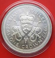 """Isle of Man 1 Crown 1977 Silber #F 1973 ST-BU KM# 41.a """"Silver Jubilee"""""""