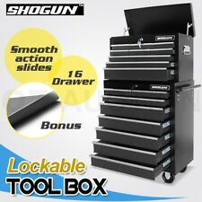 Shogun 16 Drawers Mechanic Trolley Tool Box Roller Cabinet Toolbox - Black