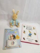 Adventures of Peter Rabbit by Beatrix Potter Book music cassette Toy plush LOT +