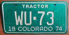 Colorado 1974 KIT CARSON COUNTY TRACTOR License Plate # WU-73