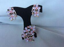 Vintage Sarah Coventry Set Brooch Clip Lillac Flowers Enamel Rhinestones