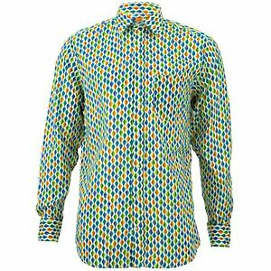 Regular Fit Long Sleeve Shirt Loud Originals Blue Tropical Kites Psychedelic