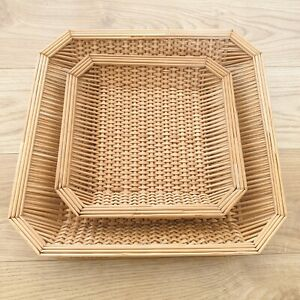 2x Square Rattan Woven Nesting Shallow Baskets - Decorative / Bread Basket
