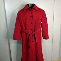 BELL'S Ladies Vtg CASHMERE Long Wool Coat Overcoat Womens size M Red