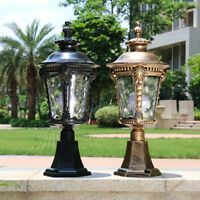 Vintage Outdoor Pillar Mounted Coach Lights Glass Lantern Gate Post Light Garden