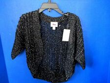 JUSTICE~Black w/ Silver Short Sleeve SWEATER SHRUG~Girls Size 5~NWT