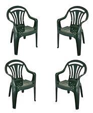 Confezione da 4 PLASTICA Bassa Posteriore Sedia da giardino GIARDINO SEDIE PICNIC impilabile sedile sgabello