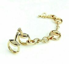 GUCCI Italian Made 18K Rose Gold Horsebit Link Bracelet Size 18