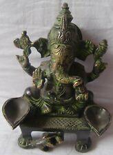 Hindu god ganesha brass statue with oil lamps sitting idol home decor figurine