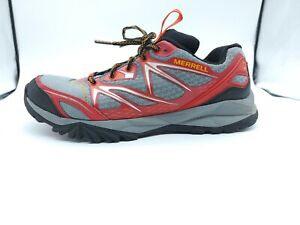 Merrell Capra Bolt Waterproof Hiking Trail Shoes Mens Size 10 Red Gray No Insole