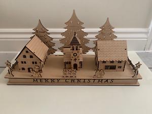 Christmas Village Scene Laser Cut Xmas LED Lights Option