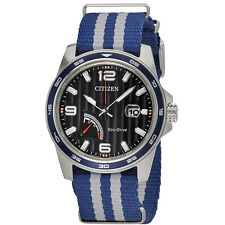 Citizen PRT Blue Dial Mens Two Tone Nylon Watch AW7038-04L