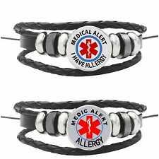 Allergy Allergic Medical Alert Bracelet Badge Type Survival Leather Awareness