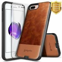 For iPhone 6s / 6s Plus Phone Case, Shockproof Leather Cover With Tempered Glass