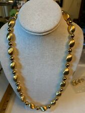 VINTAGE JEWELRY Gold Beaded Necklace Gold Chunky Necklace 24""