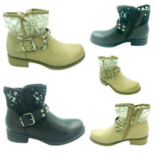 LADIES WOMENS FLAT LOW HEEL CHELSEA STUDDED LACE ZIP UP SHOES BOOTS SIZE 3-8