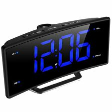 Projection Alarm Clock Curved Screen Digital FM Radio LED Display USB Charging